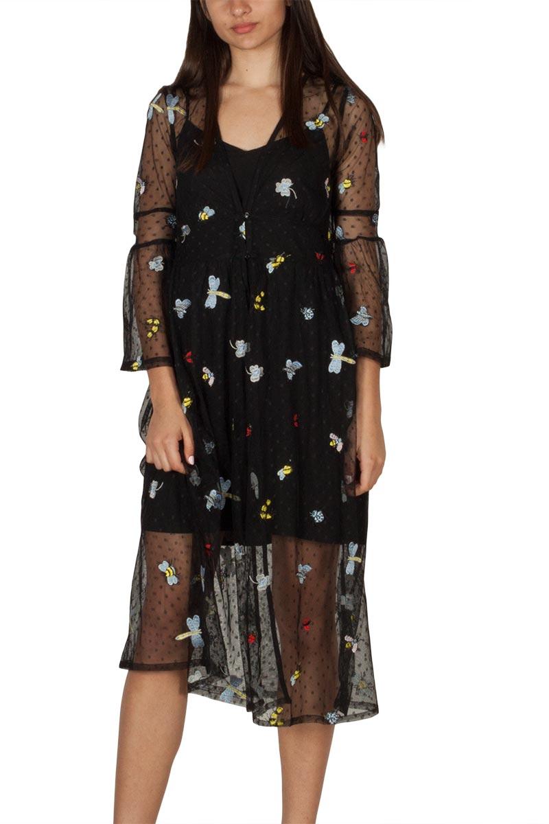 Ryujee Daly φόρεμα μαύρο πουά τούλι με κέντημα