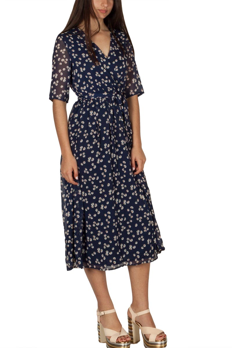 Ryujee Doem κρουαζέ μίντι φόρεμα μπλε με πριντ