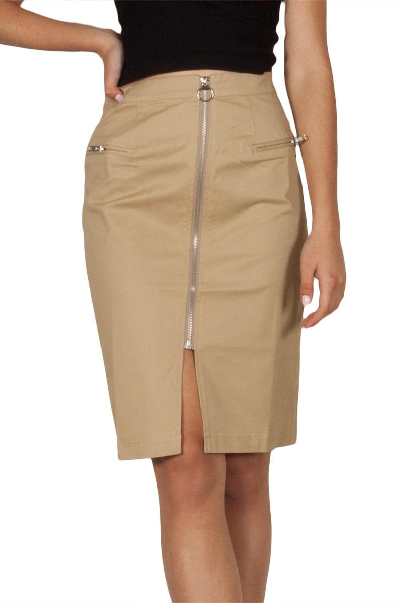 Ryujee Krap zip front skirt camel