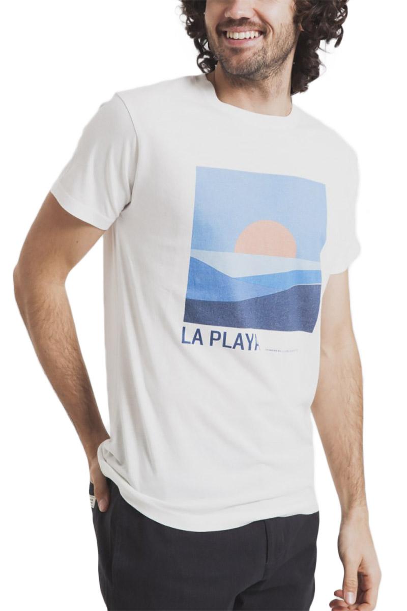 Thinking Mu ανδρικό t-shirt La Playa λευκό