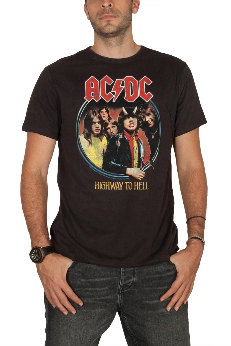 Amplified ACDC Highway to hell t-shirt ανθρακί