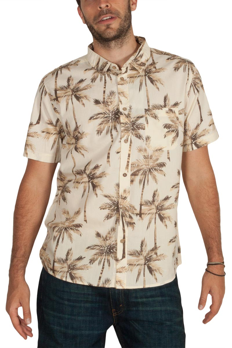 Anerkjendt Epic κοντομάνικο πουκάμισο μπεζ με φοίνικες
