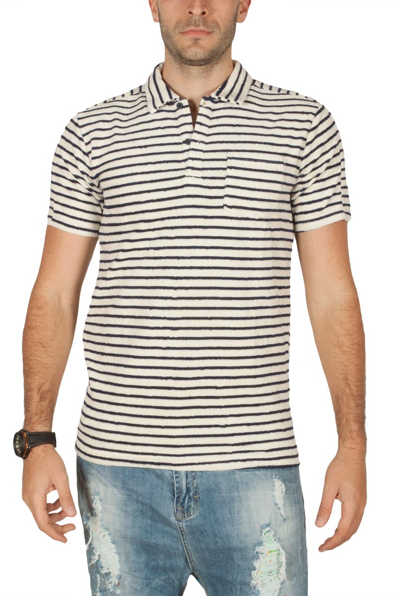 Anerkjendt Down ανδρικό polo t-shirt φροτέ εκρού-navy - 9218351