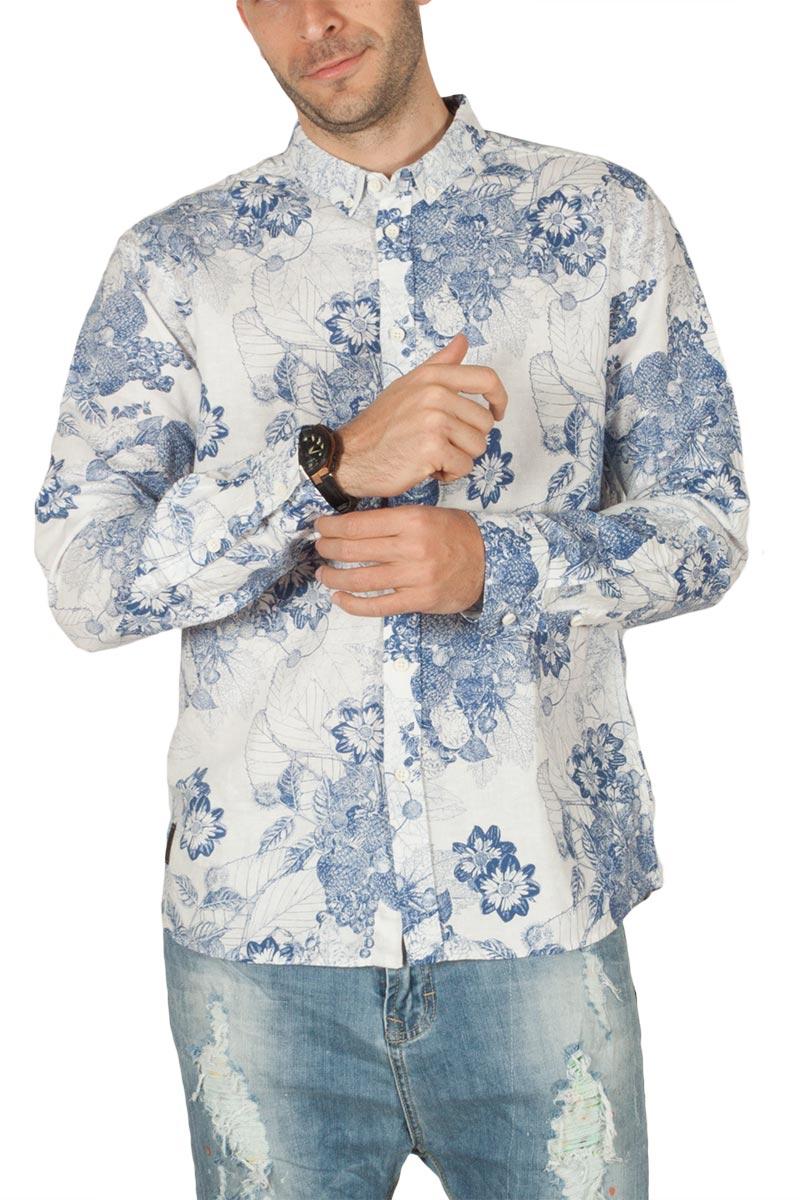 Anerkjendt Konrad linen mix μακρυμάνικο πουκάμισο λευκό-μπλε - 9218020