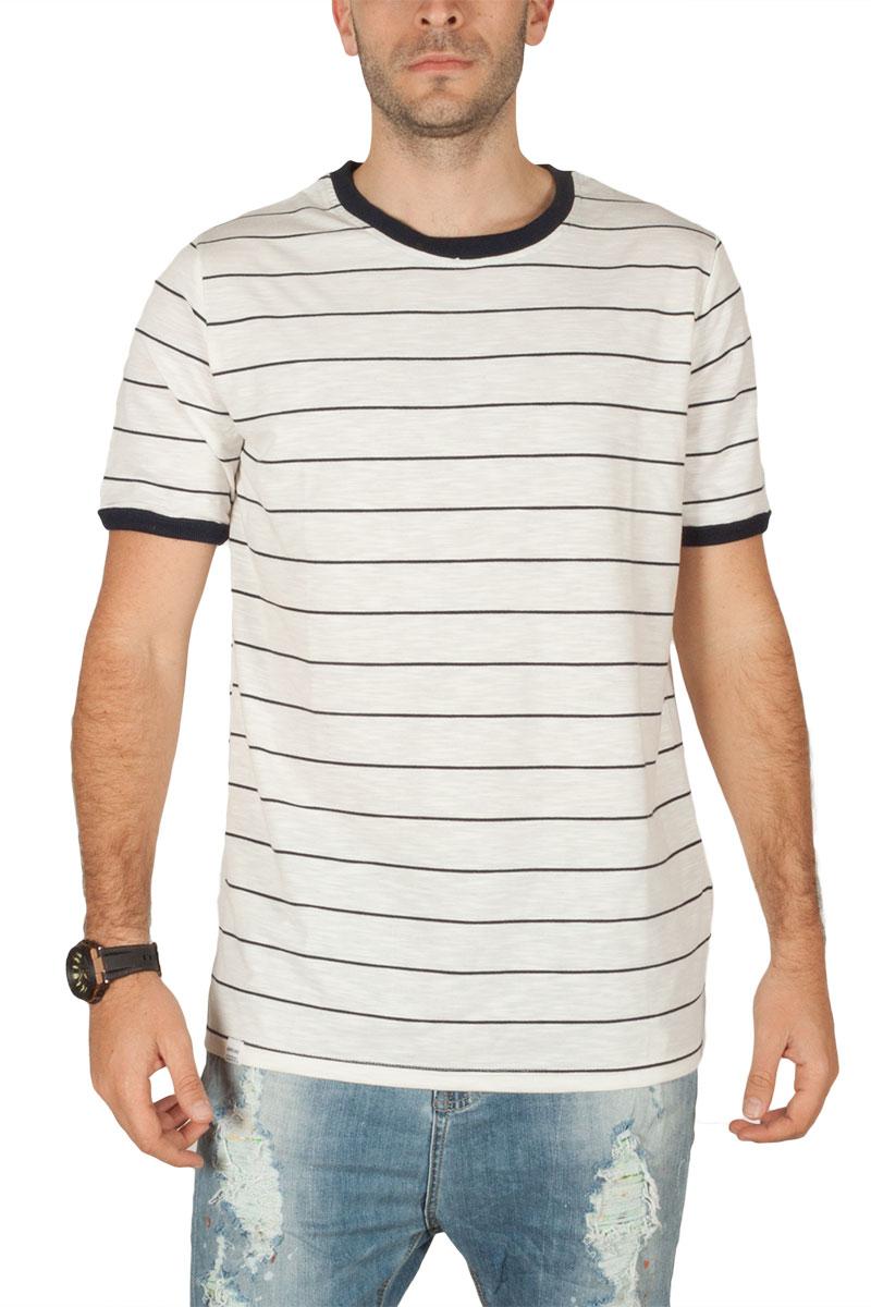 Anerkjendt Ove ανδρικό ριγέ t-shirt λευκό-navy