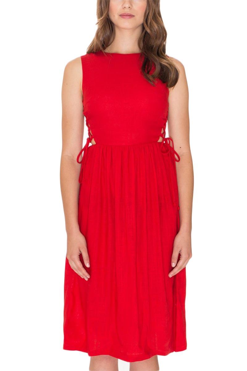 Pepaloves Angela αμάνικο μίντι φόρεμα κόκκινο