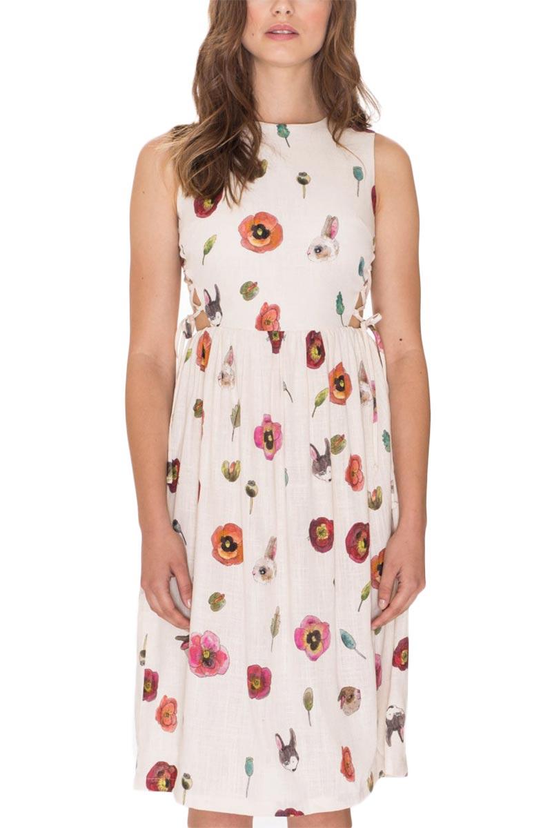 Pepaloves Angela αμάνικο μίντι φόρεμα κρεμ - 108689