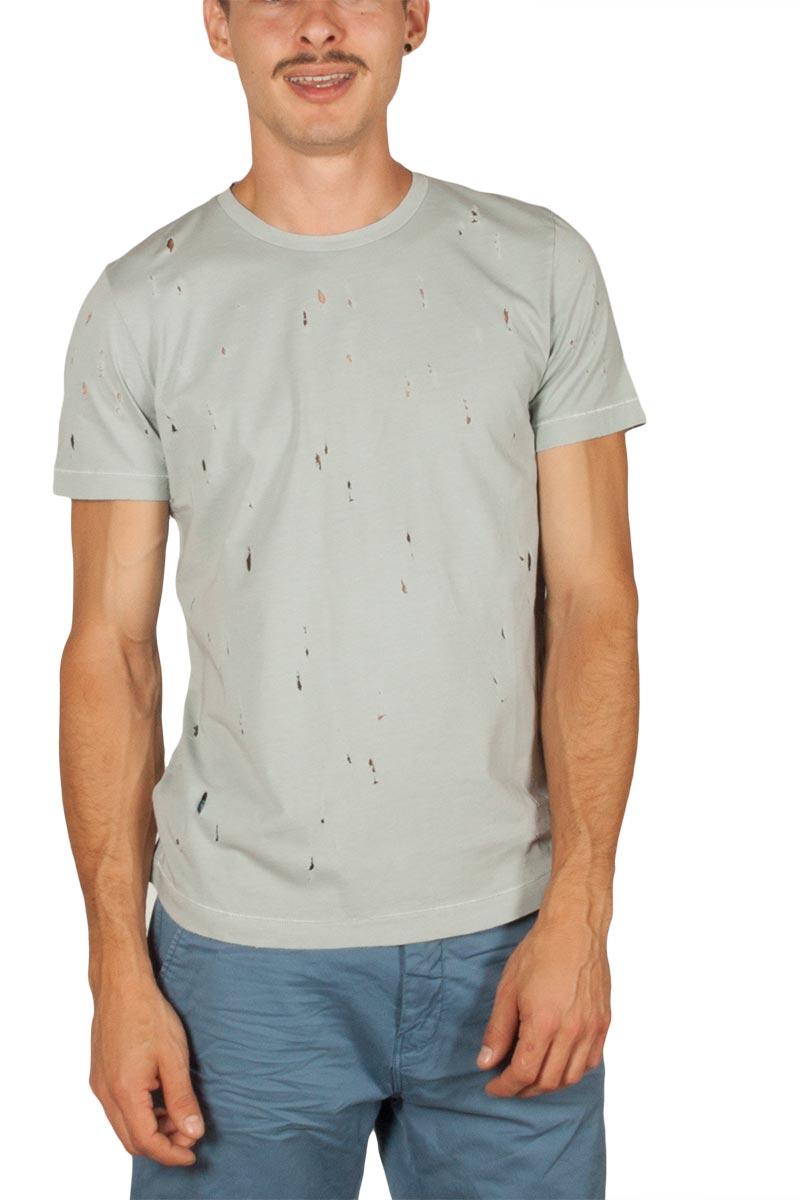 Best Choice ανδρικό t-shirt ανοιχτό γκρι με τρύπες