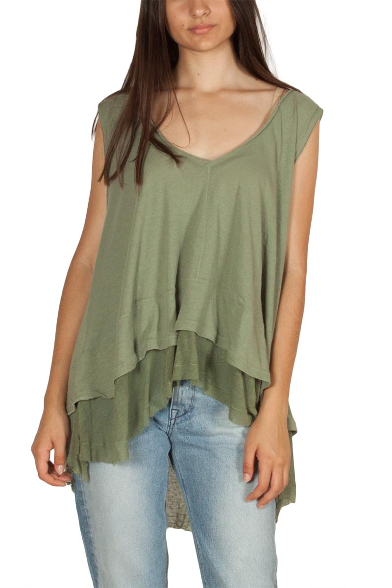 Free People Peachy oversized αμάνικη μπλούζα ανοιχτό πράσινο