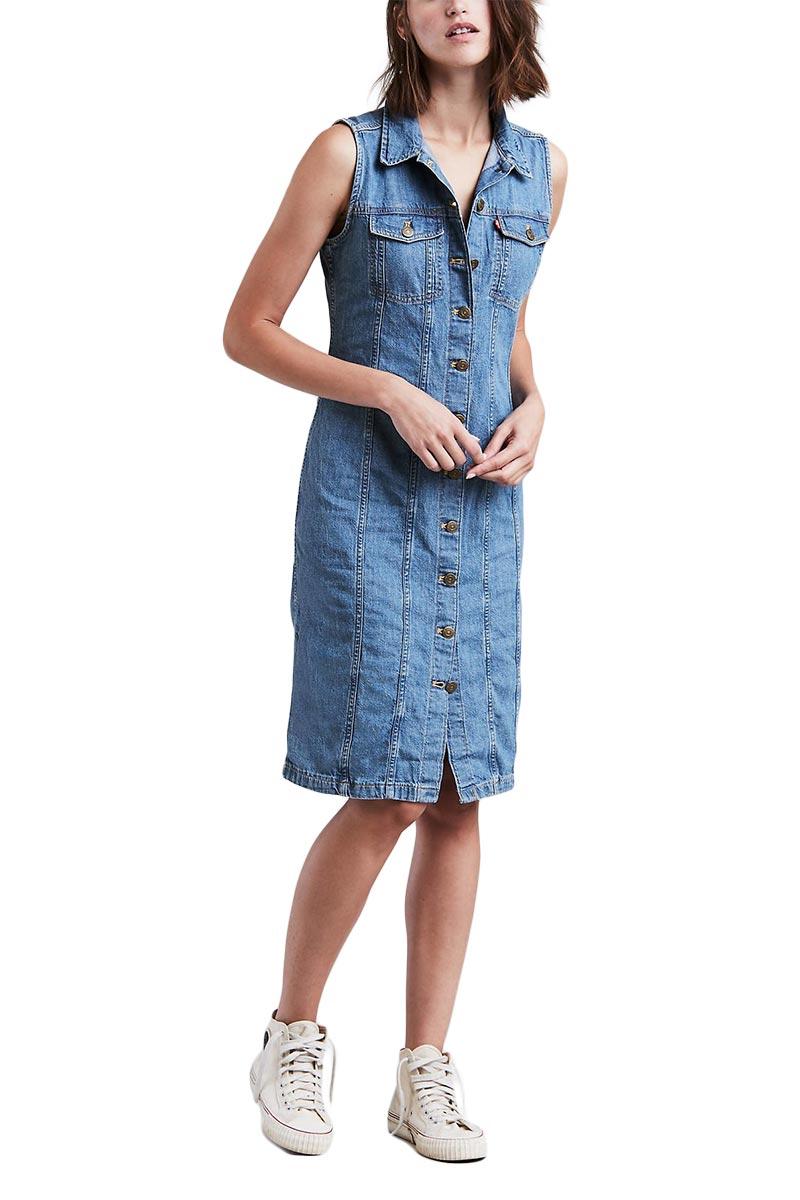 LEVI'S Aubrey western dress medium blue