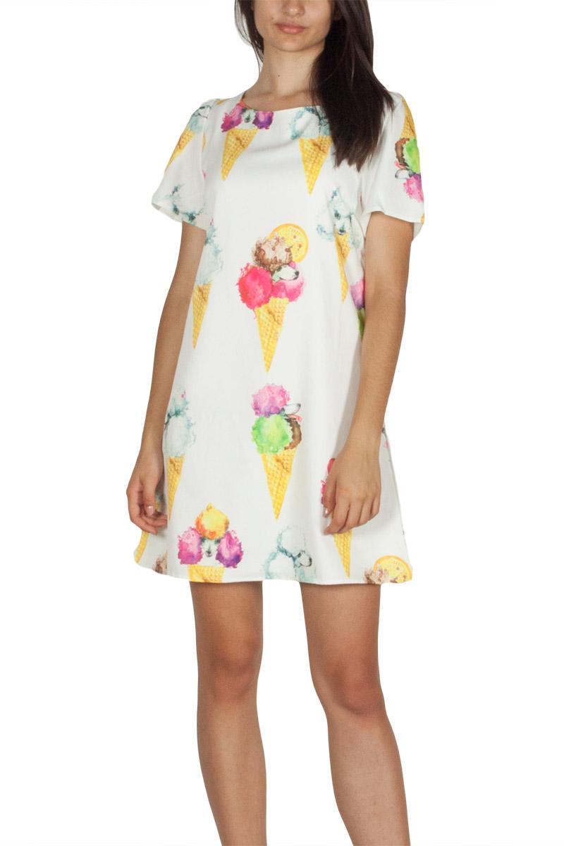 Migle + me κοντομάνικο φόρεμα λευκό με πριντ - la-17ic