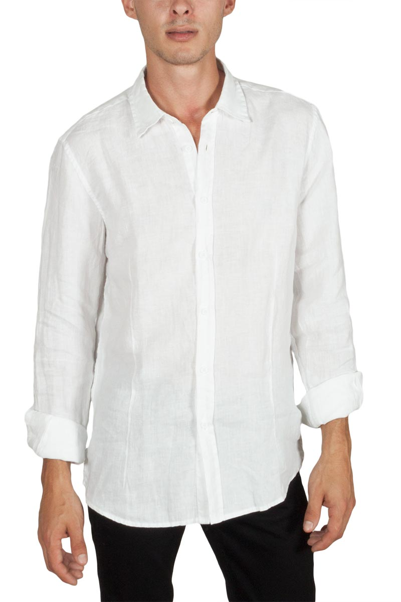 Best Choice μακρυμάνικο λινό πουκάμισο λευκό - 18ns-7231-wh
