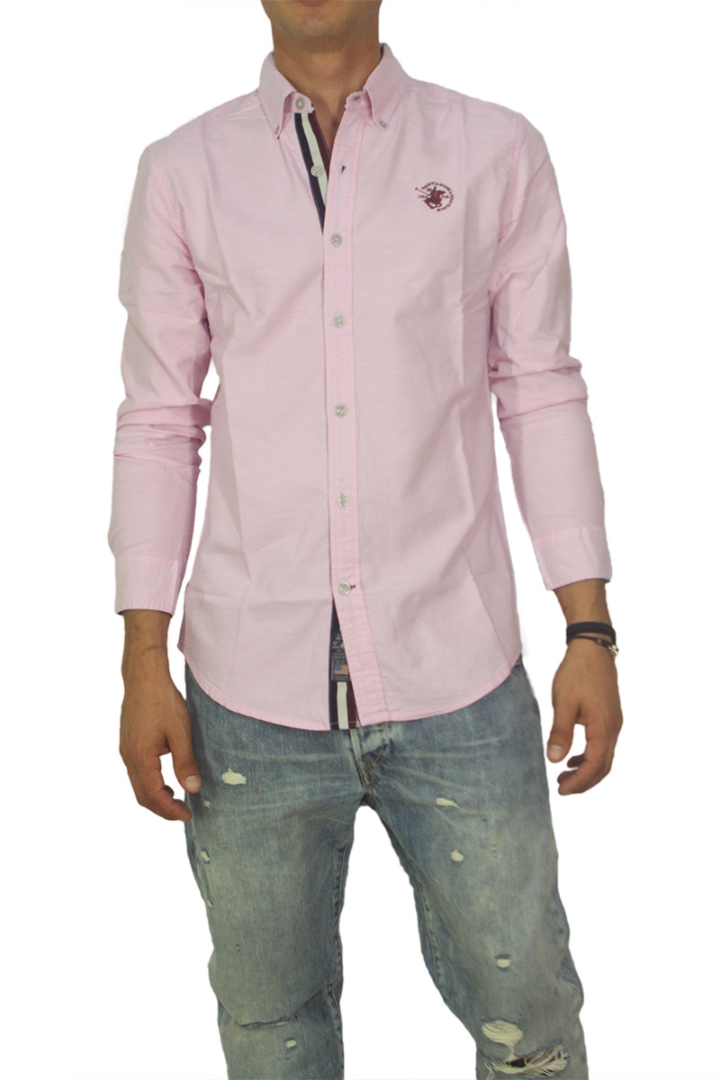9d5027501fed Ανδρικό μακρυμάνικο oxford πουκάμισο ροζ