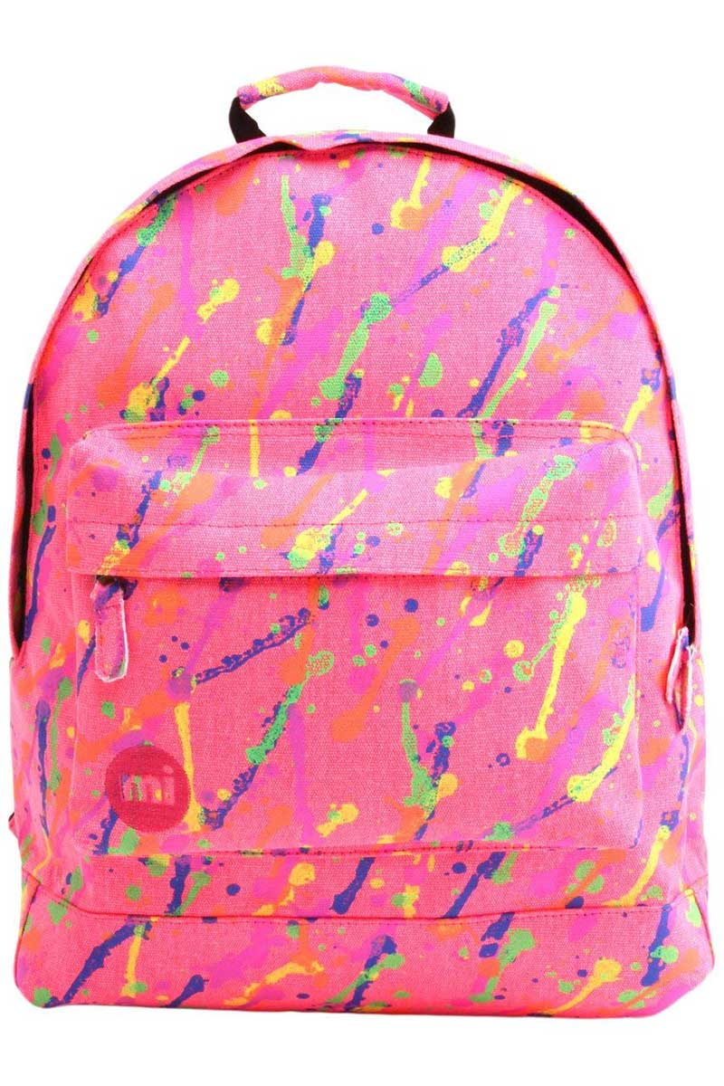Mi-Pac canvas backpack splattered neon pink