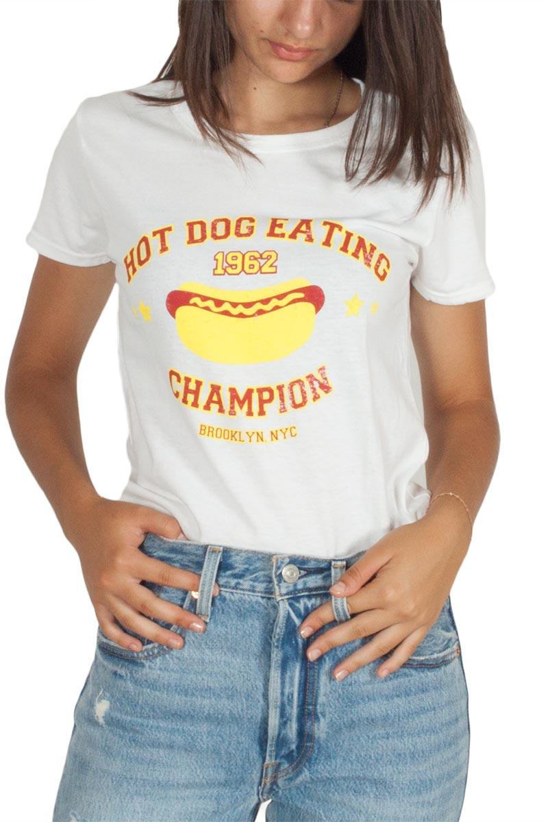 Daisy Street λευκό t-shirt Hot Dog slogan print