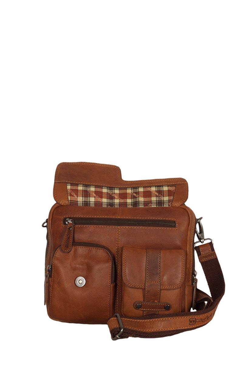 Hill Burry μικρή δερμάτινη τσάντα ταχυδρόμου καφέ με εξωτερικές τσέπες 2e4d85a6f34