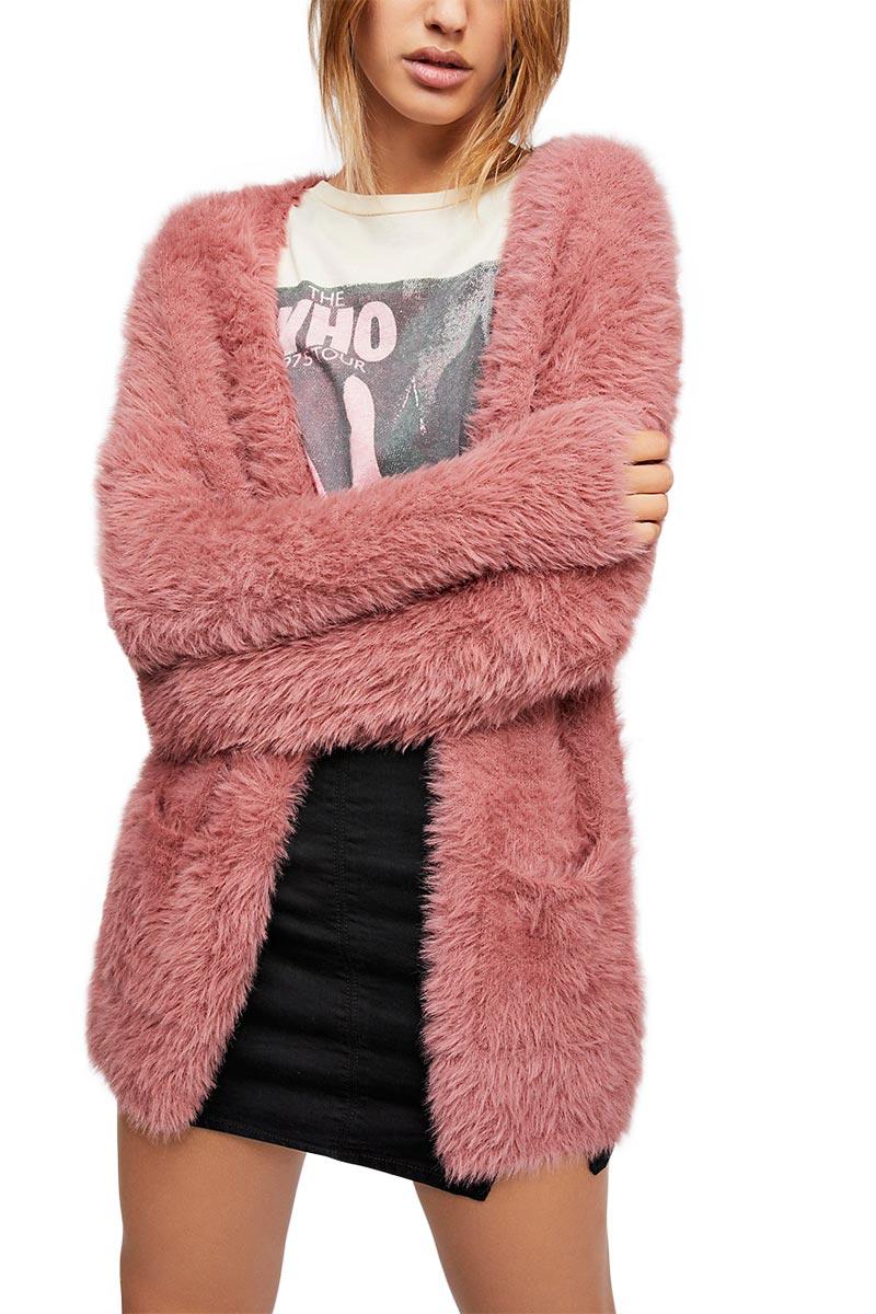 8c44ae921e8 Free People faux fur ζακέτα σκούρο ροζ - ob816577