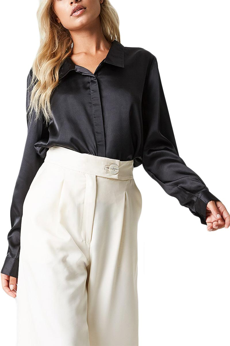 aef17e4f2669 Γυναικείο σατέν πουκάμισο μαύρο Rut   Circle Rebecka