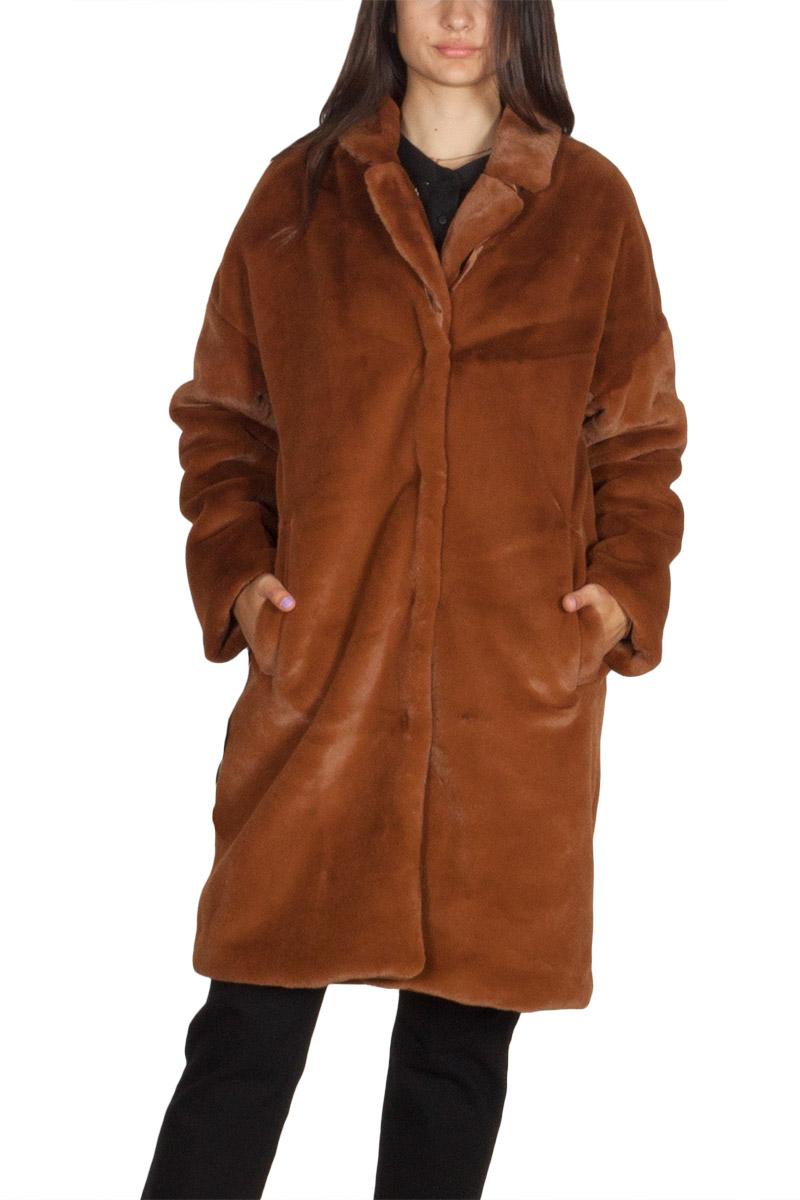 Minimum Belinde faux γούνα παλτό ανοιχτό καφέ