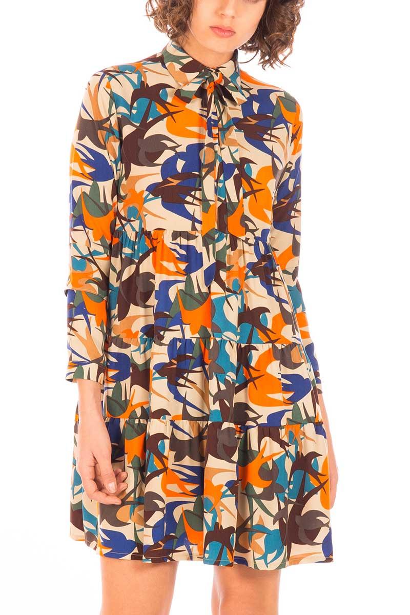 Minueto Shirley σεμιζιέ φόρεμα πολύχρωμο - 182051