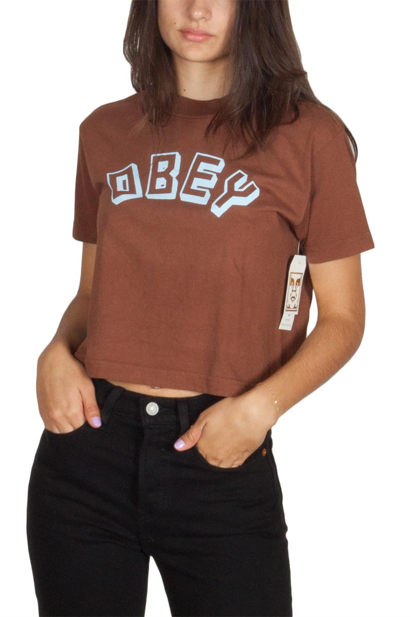 Obey New World cropped logo t-shirt καφέ