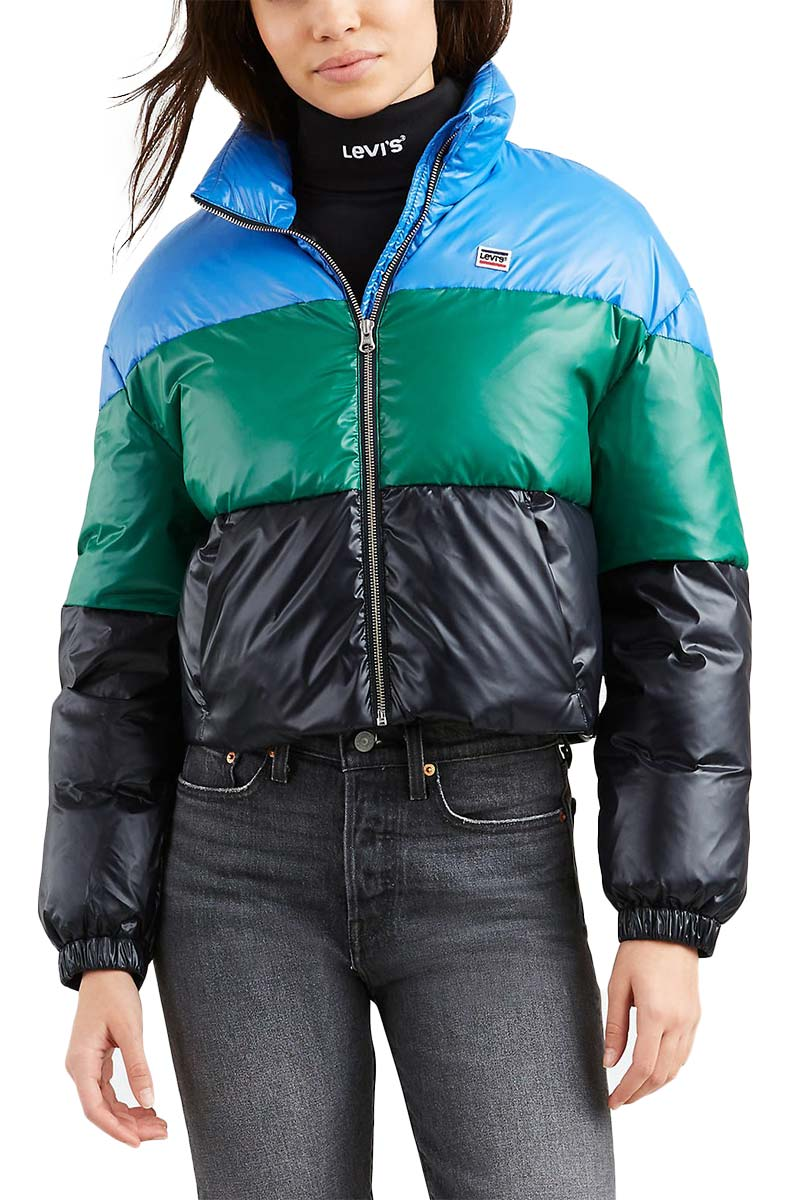 LEVI'S® Sam cropped puffer jacket nebulas blue colorblock