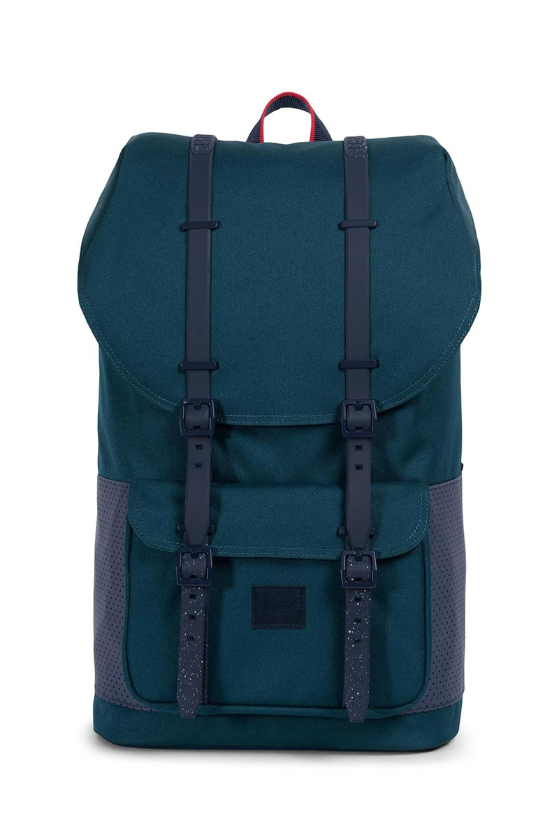 6a77ada34593 Herschel Little America Aspect backpack deep teal peacoat barbados cherry