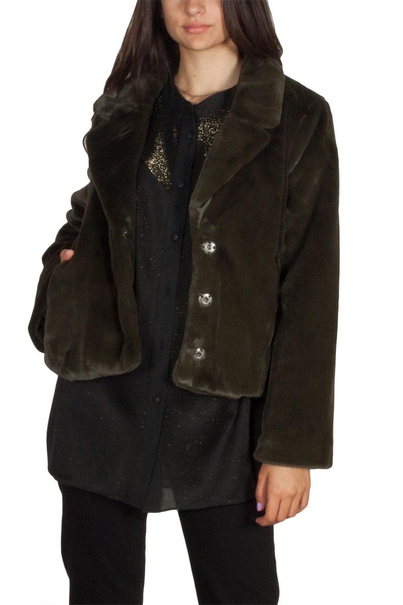 Minimum Kiss faux γούνινο κοντό σακάκι κυπαρισσί