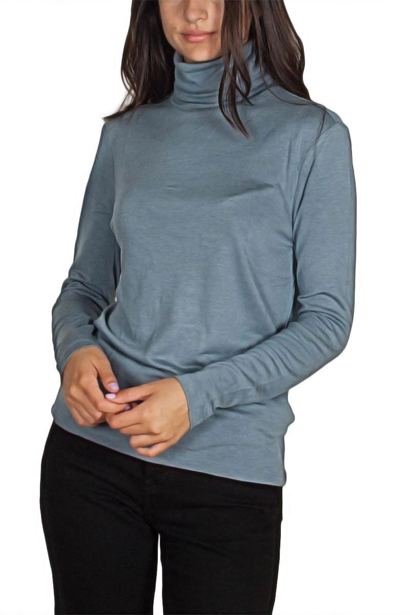 Minimum Petronella μακρυμάνικη ζιβάγκο μπλούζα γαλάζια