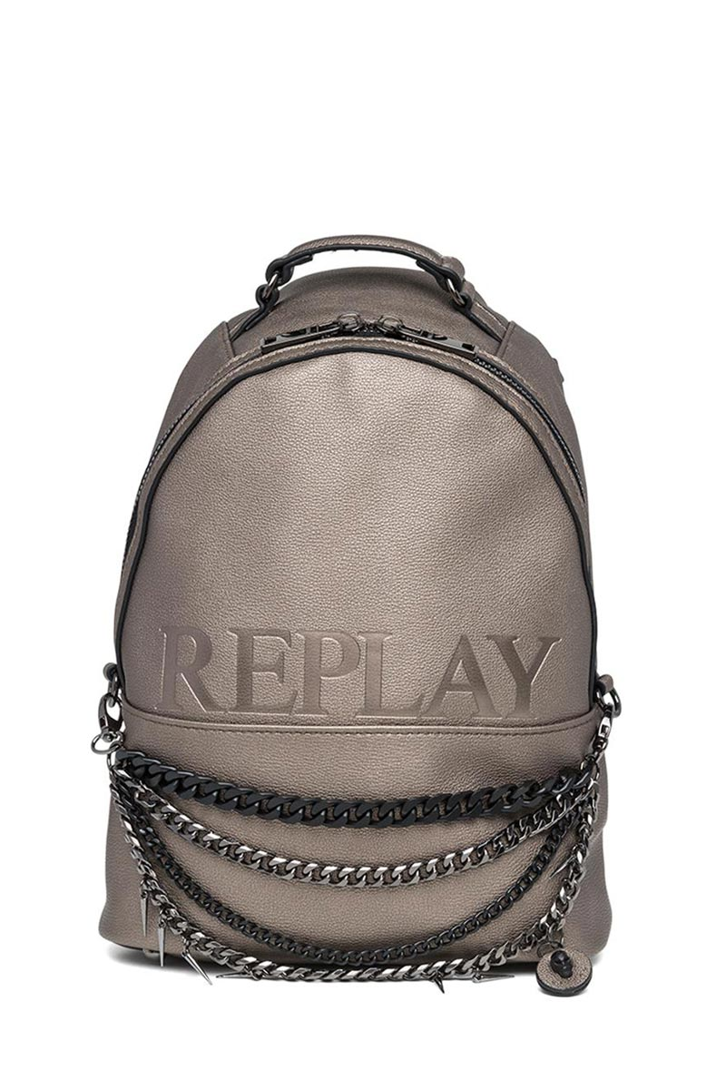 1ea68311ac ΓΥΝΑΙΚΕΙΑ ΤΣΑΝΤΑ · Replay micro hammered eco-leather backpack lux metal -  fw3761-000-a0363-
