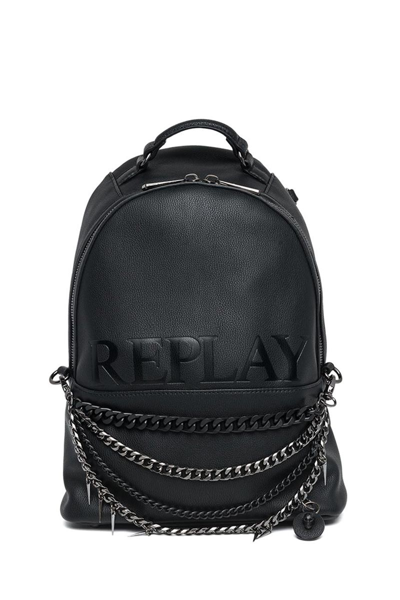 Replay micro hammered eco-leather backpack black 1b4dcbddbcc
