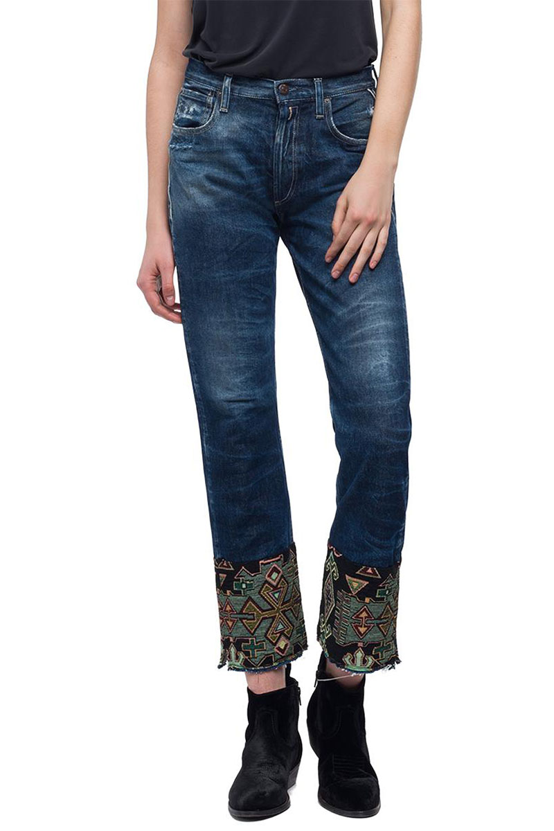 Replay cropped fit Alexys jeans dark denim - wa678a-000-59c-356-009