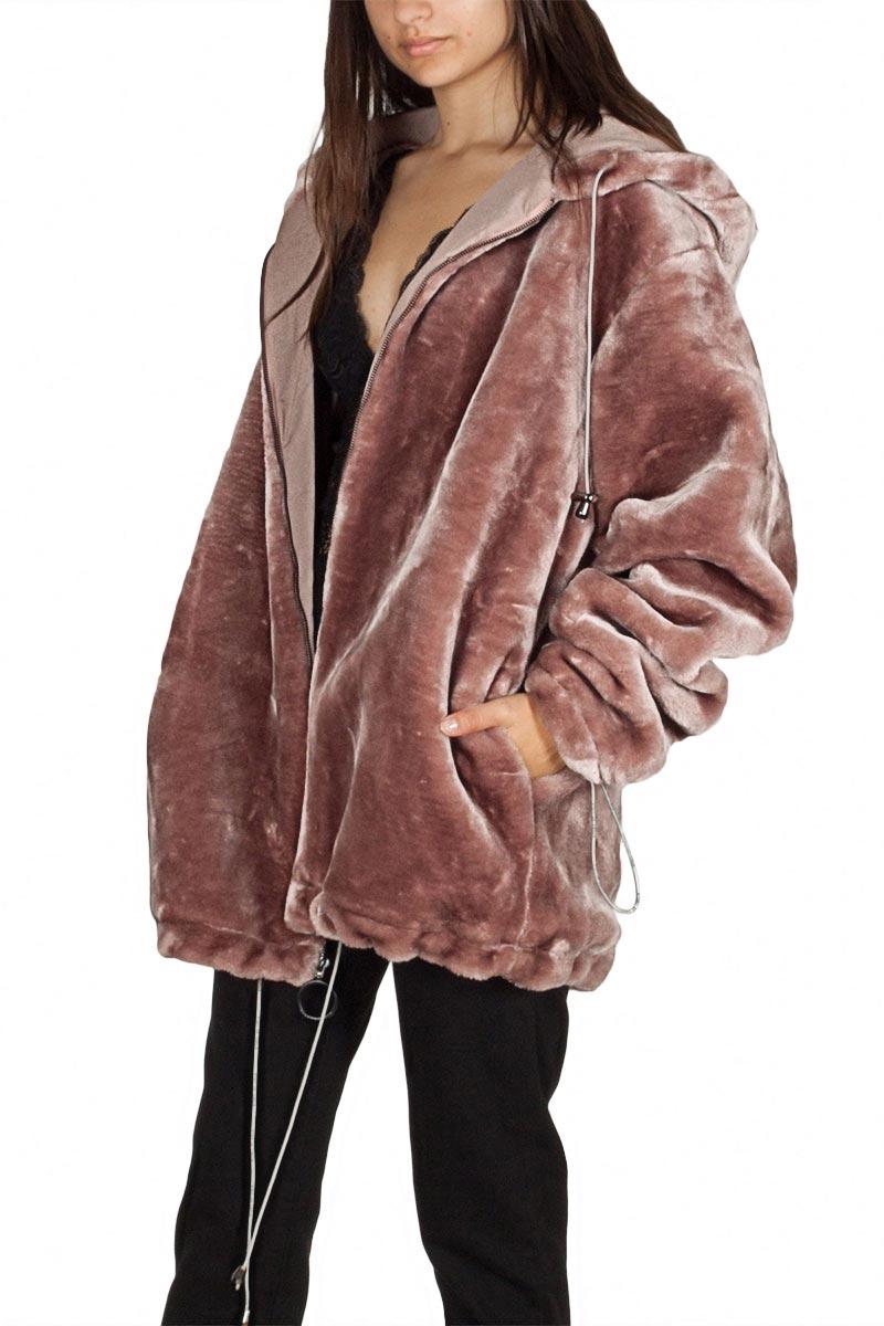 1300d89aa37 Story Of Lola oversized faux γούνινη ζακέτα μελιτζανί με κουκούλα