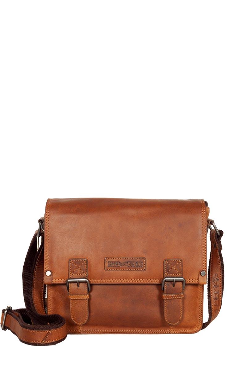 Hill Burry δερμάτινη τσάντα ταχυδρόμου καφέ με καπάκι