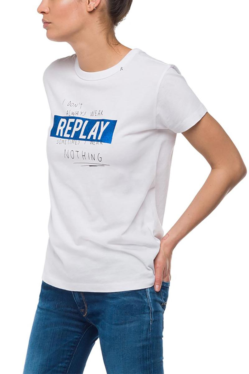 Replay crewneck t-shirt logo stripe white