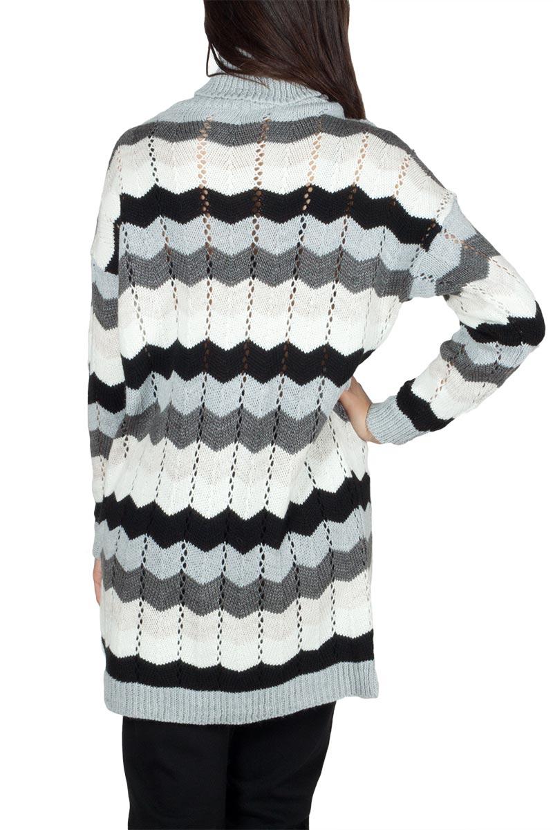 Πλεκτό μακρύ πουλόβερ ζιβάγκο με ζικ ζακ