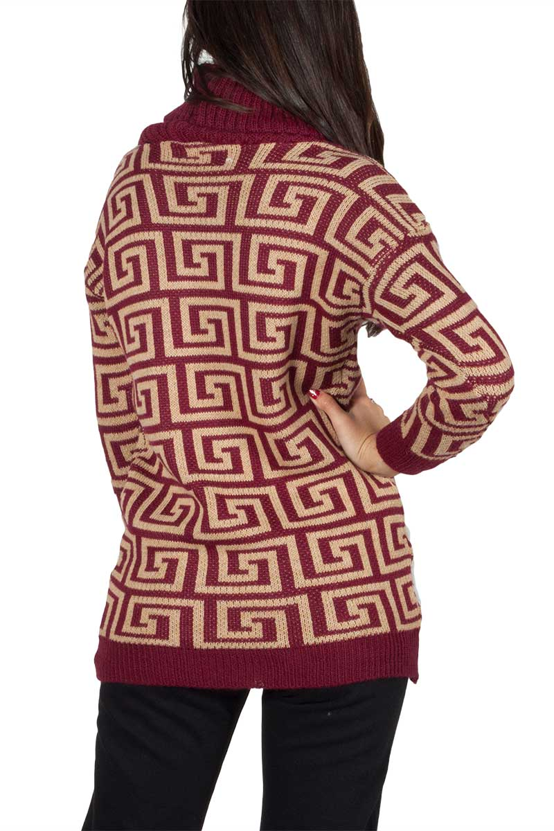 Turtleneck long jumper bordeaux with labyrinth pattern