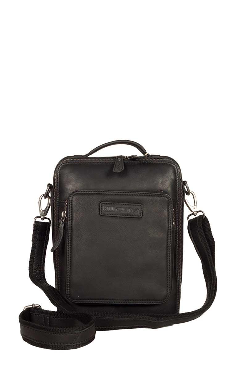 Hill Burry ανδρική δερμάτινη τσάντα μαύρη