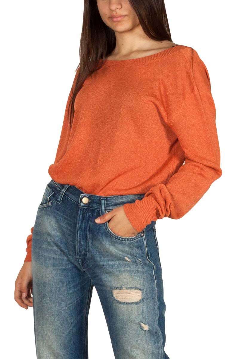 Pepaloves Elena V-back viscose sweater orange