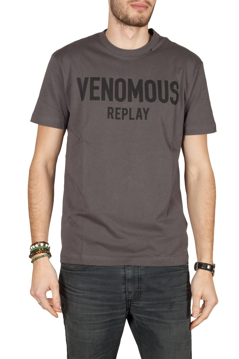 Replay t-shirt Venomous print slate grey - m3610-000-22038-716 d9b949f21d3