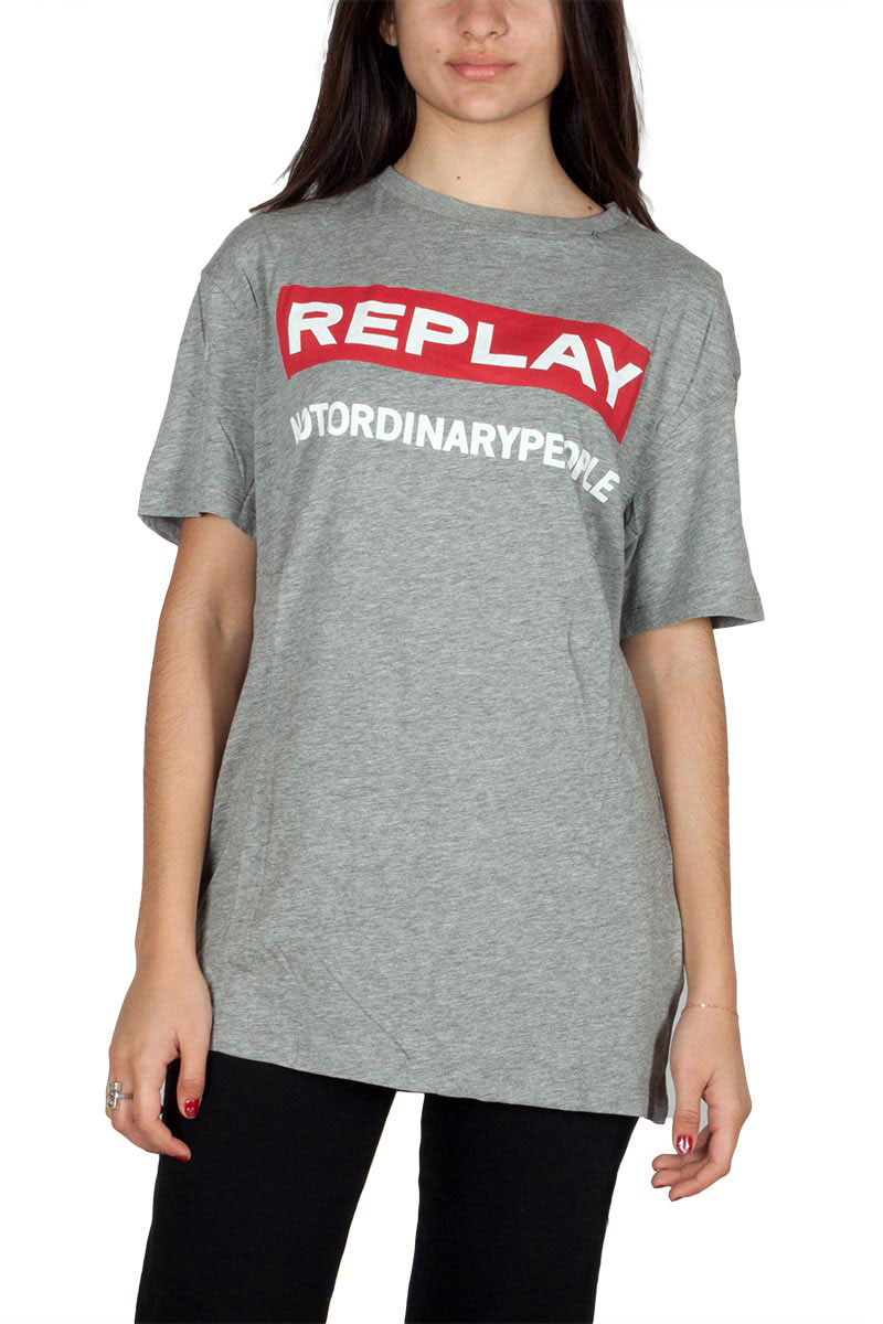 Replay oversized t-shirt macrologo grey heather