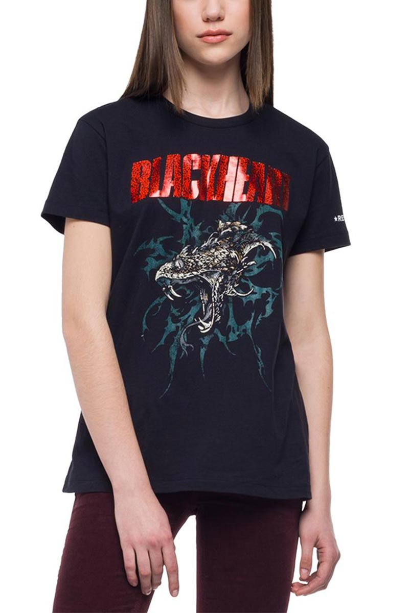 Replay Blackheart print t-shirt blackboard