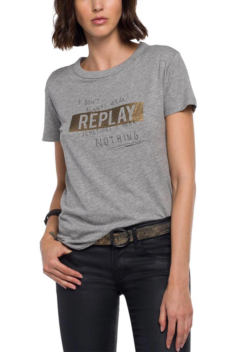 Replay crewneck t-shirt logo stripe grey melange