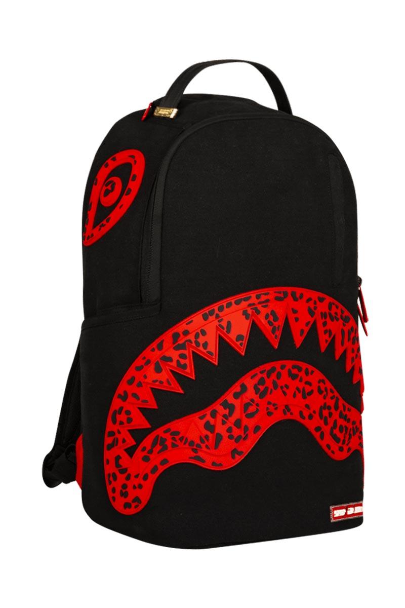 Sprayground backpack red leopard rubber shark
