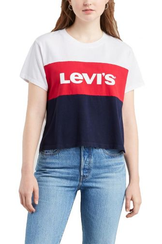 Levi's® Graphic colorblock varsity t-shirt white lychee blue red