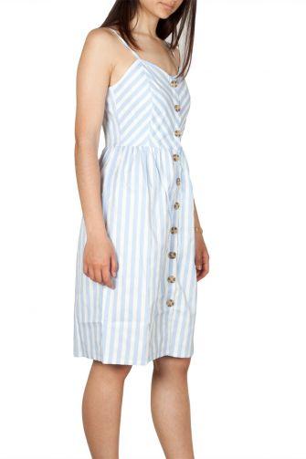 Rut and Circle τιραντέ ριγέ φόρεμα λευκό-γαλάζιο με κουμπιά