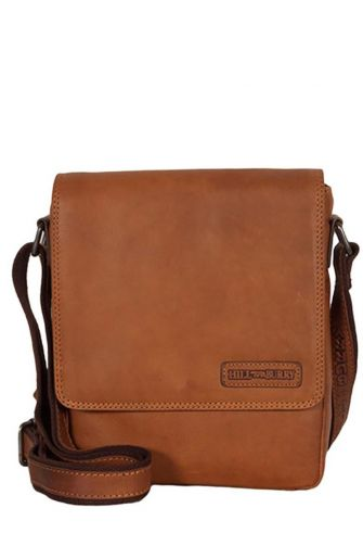 Hill Burry men's flap over cross body leather bag brown