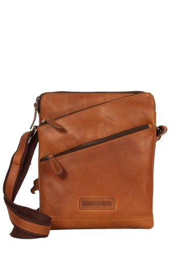 Hill Burry men's cross body leather bag with diagonal pockets