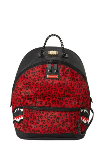Sprayground women's backpack 6-strap red leopard empress pony hair
