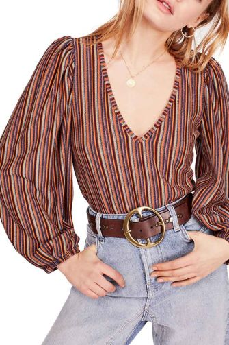 Free People Autumn Nights blouson sleeve striped top